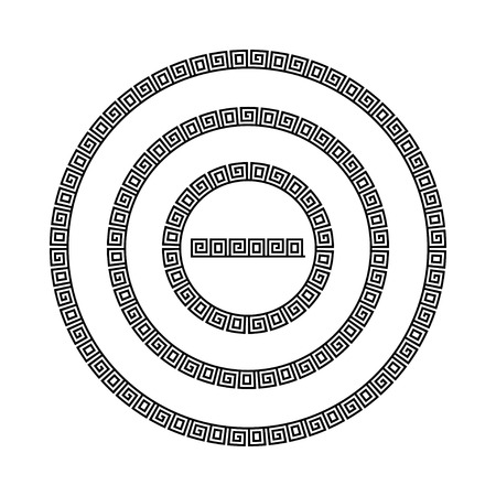 Circle ornament meander. Round frame, rosette of ancient elements. Greek national antique round pattern. Rectangular pulse. Ancient seamless meandros border