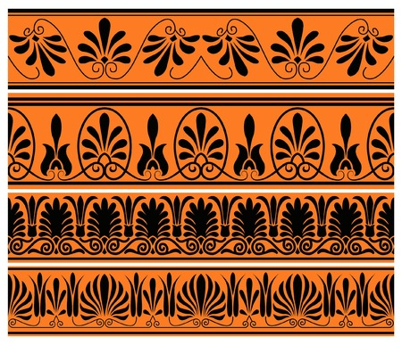antiquities: set of national greek seamless ornaments patterns Illustration