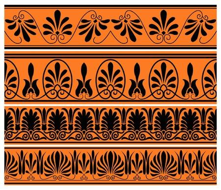 set of national greek seamless ornaments patterns Illustration