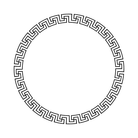 meander: Circle ornament meander. Round frame, rosette of ancient elements. Greek national antique round pattern. Rectangular pulse