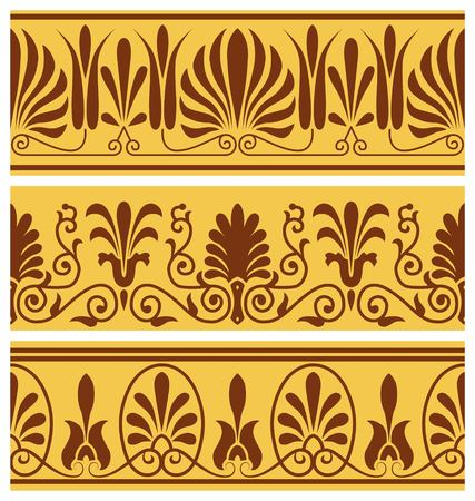 antiquities: set of national greek seamless ornaments patterns Stock Photo