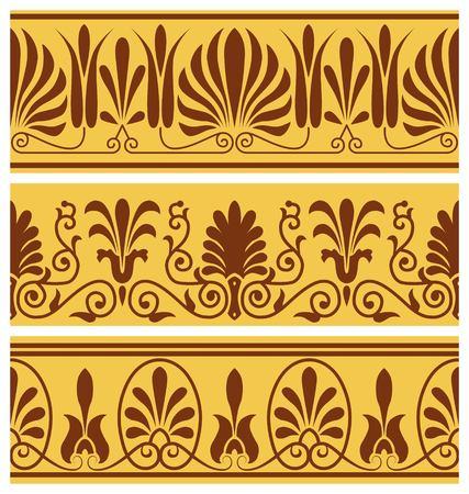 set of national greek seamless ornaments patterns Stock Photo