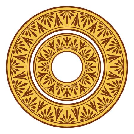 antiquities: Circle ornament. Round frame, rosette of ancient elements. Greek national antique round pattern.