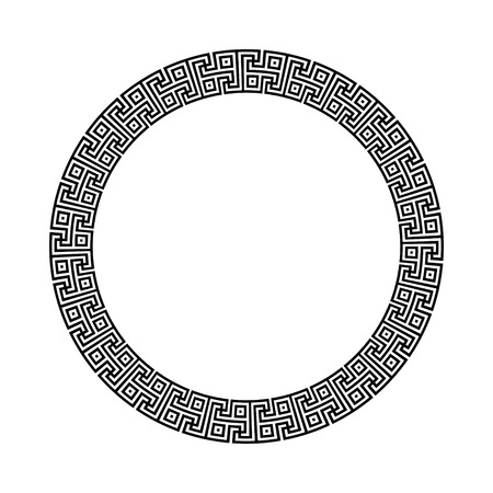 meander: Circle ornament meander. Round frame, rosette of ancient elements. Greek national antique round pattern. Gammadion cross pattern