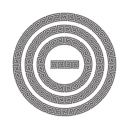 antiquities: Circle ornament meander. Round frame, rosette of ancient elements. Greek national antique round pattern. Rectangular pulse. Ancient seamless meandros border