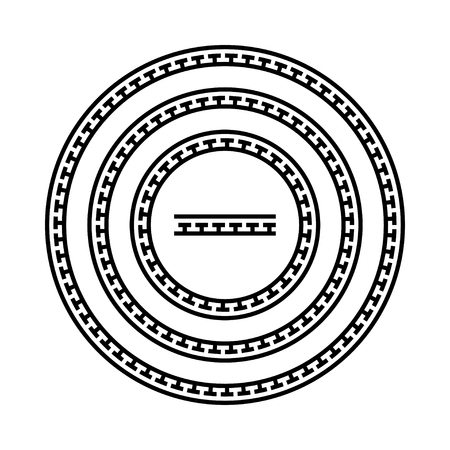 meander: Circle ornament meander. Round frame, rosette of ancient elements. Greek national antique round pattern. Rectangular pulse. Ancient seamless meandros border