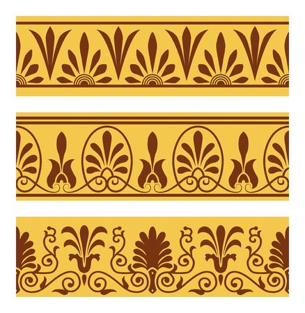 antiquities: set of national greek seamless ornaments patterns Illustration