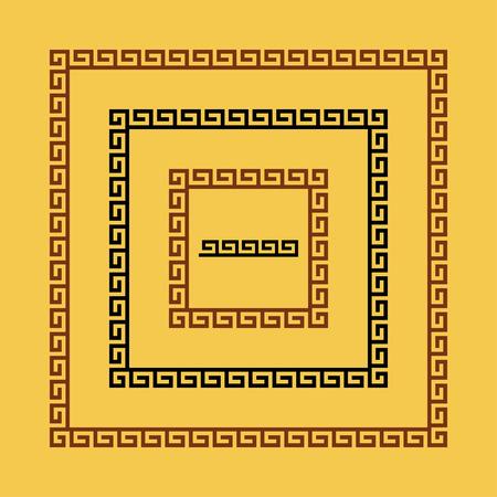 meander: Set of meander borders. Ancient seamless square Greek key frames. Greek national antique meandros lines. Rectangular pulse.