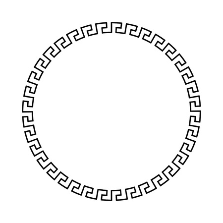 meander: Circle ornament meander. Round frame, rosette of ancient elements. Greek national antique round pattern. Rectangular pulse