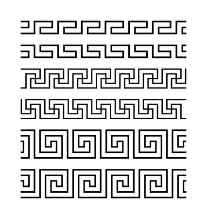 meanders: Set of meanders. Ancient seamless borders. Greek national antique meander lines. Rectangular pulse