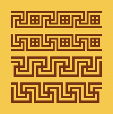 swastika: Set of meanders. Ancient seamless borders. Greek national antique meander lines. Swastika rectangular pulse