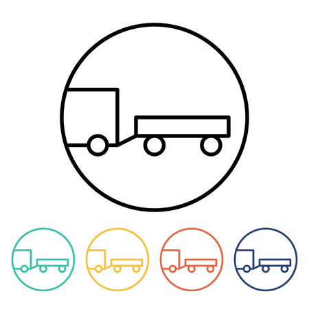 towed: Towed vehicles sign. Towed caravan icon set. Vector illustration of a car towing another vehicle in trendy linear style Illustration