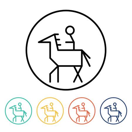 uomo a cavallo: Set di semplici icone sottili cavaliere lineari. Vector l'illustrazione di un cavaliere sul cavallo in stile lineare di tendenza