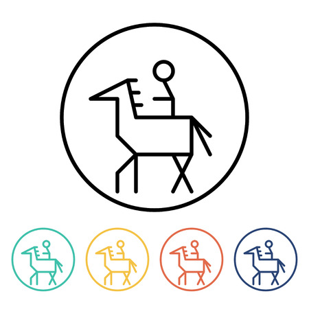 horseman: Set of simple thin linear horseman icons. Vector illustration of a rider on the horse in trendy linear style Illustration