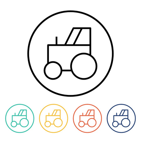 wheeled: Set of simple thin linear tractor icons. Vector illustration of a wheeled tractor in trendy linear style