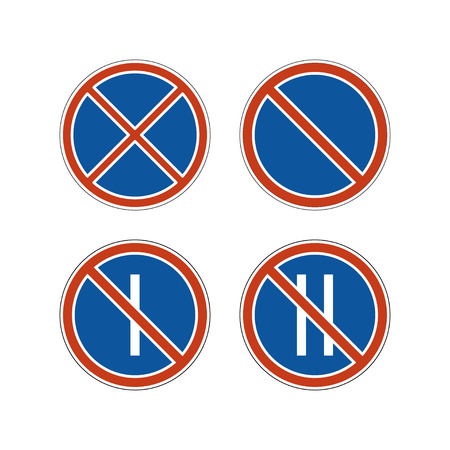 No parking signs set. Controlled parking zone traffic signs. Clearways icons.