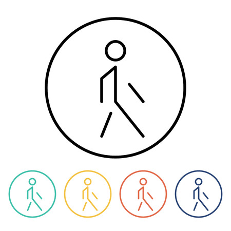 pedestrian walkway: Set of simple thin linear pedestrian icons. Vector illustration of a walking man  in trendy linear style