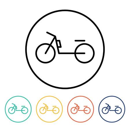 motorizado: Conjunto de iconos simples de ciclomotores lineales finas. Ilustraci�n vectorial de una bicicleta motorizada en el estilo lineal de moda Foto de archivo