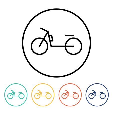 motorized: Set of simple thin linear moped icons. Vector illustration of a motorized bicycle in trendy linear style Stock Photo