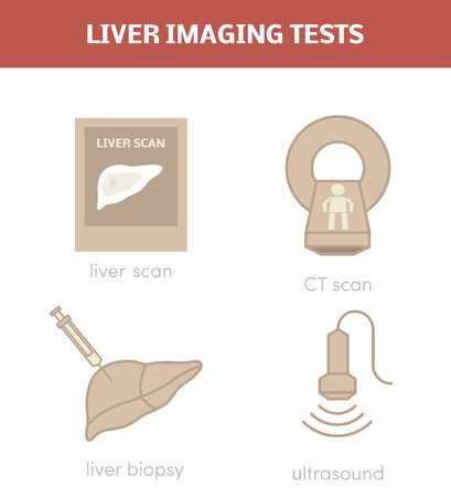 biopsy: Liver imaging tests. Diagnosis of liver diseases, vector icon set.
