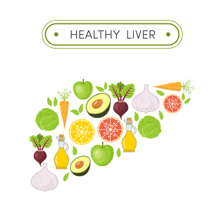 human liver: Concept of healthy liver.  Cartoon illustration of foods that cleanse the liver. Vegetables and fruits in shape of human liver Illustration