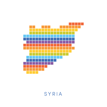 frontiers: Colorful pixel map of Syria. Vector frontiers of Syrian Arab Republic in colors of a rainbow.