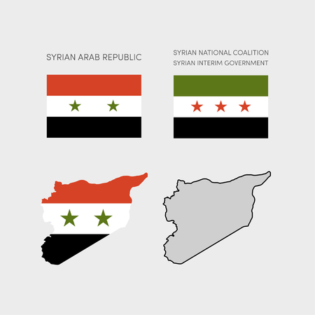 interim: Simple maps of Syria. National boundaries of Syrian Arab Republic in colors of a national flag.