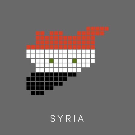 bits: Simple pixel map of Syria. Borders of Syrian Arab Republic in colors of a national flag.