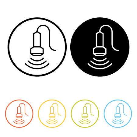 Medical ultrasound pictogram. Thin line icons of sonography in different colors