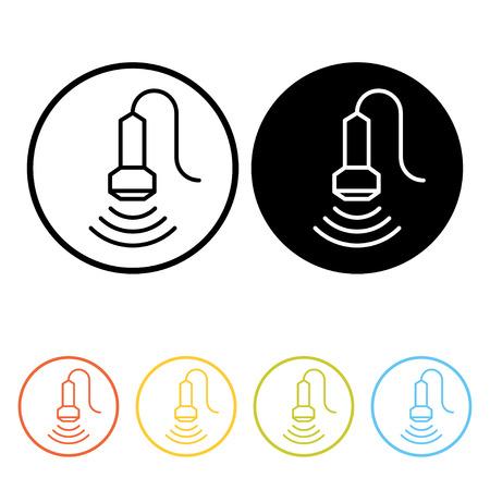 sonograma: pictograma ultrasonido médico. iconos de líneas finas de la ecografía en diferentes colores