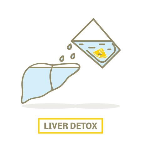 Concept of liver detox.  Lemon water filling up the liver Ilustracja