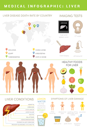 jaundice: Liver infographics. Set of icons for healthcare info graphic. Data about human liver