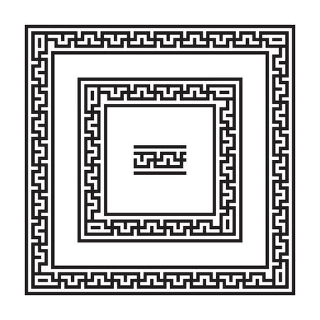 jainism: Set of meander borders. Ancient square pattern. Illustration