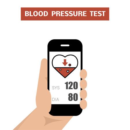 Blood pressure test. Measuring of blood pressure using smartphone application.