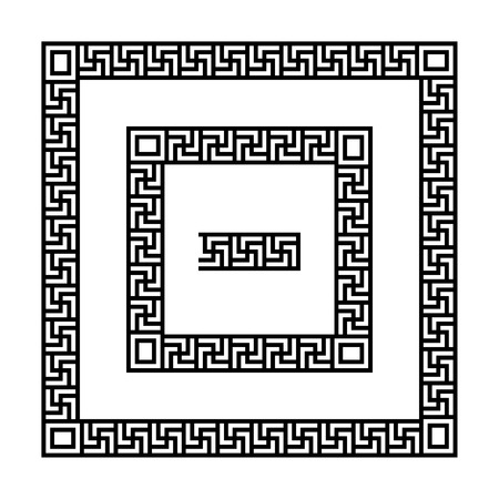 fret: Set of meander borders. Ancient square pattern. Illustration