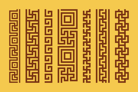 jainism: Set of meander borders. Vector ancient patterns. Sacred symbol using in Hinduism, Buddhism, Jainism and in Greek culture
