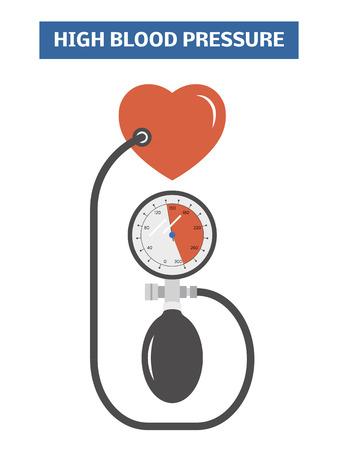 diastolic: High blood pressure concept. Simple vector illustration symbolizing hypertension Illustration