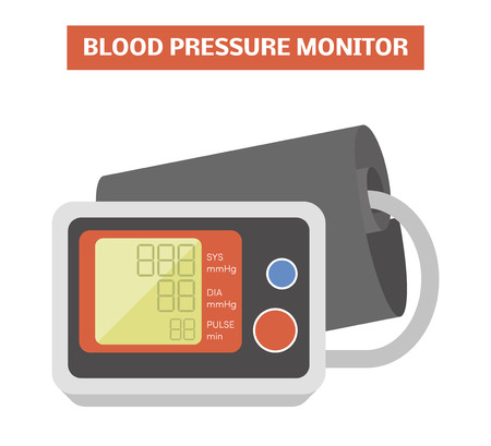 Blood pressure meter. Vector image of an electronic sphygmomanometer with a cuff placed around the upper arm Illustration