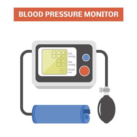 sphygmomanometer: Blood pressure monitor. Vector image of a automated-auscultatory sphygmomanometer