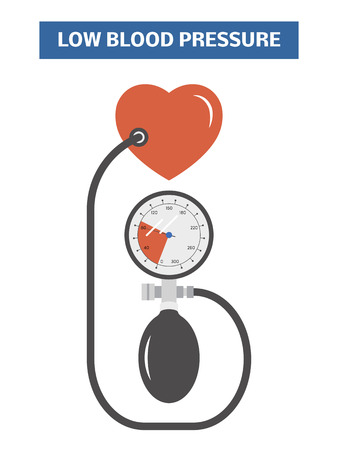 hypotension: High blood pressure concept. Simple vector image symbolizing hypotension