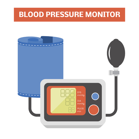 blood pressure bulb: Blood pressure monitor. Vector image of a hybrid sphygmomanometer with an inflation bulb Illustration