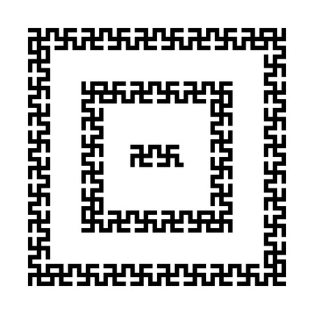 swastika: Set of meander borders. Ancient square pattern. Vector frames with swastika