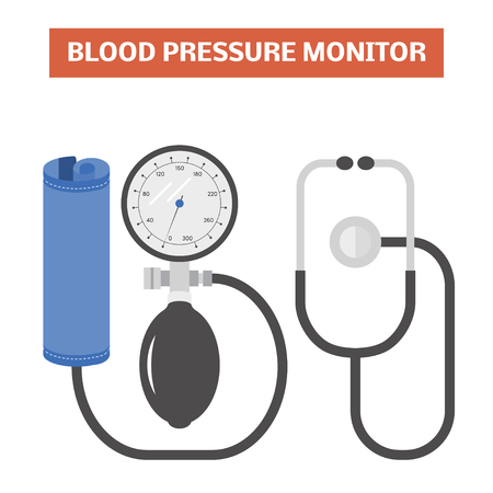 manual test equipment: Blood pressure monitor. Vector image of an aneroid mechanical sphygmomanometer with a dial and stethoscope Illustration