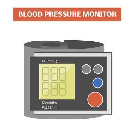 hypertensive: Blood pressure monitor. Vector image of a digital sphygmomanometer with a cuff placed around the wrist