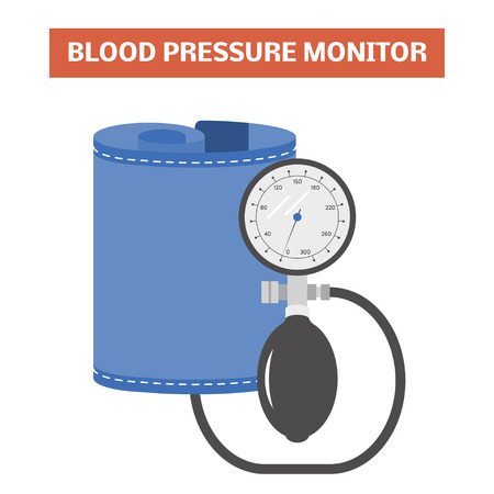 blood pressure bulb: Blood pressure monitor. Vector image of an aneroid mechanical sphygmomanometer with a dial Illustration