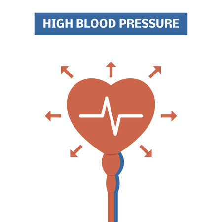 systolic: High blood pressure concept. Simple vector logo symbolizing hypertension Illustration