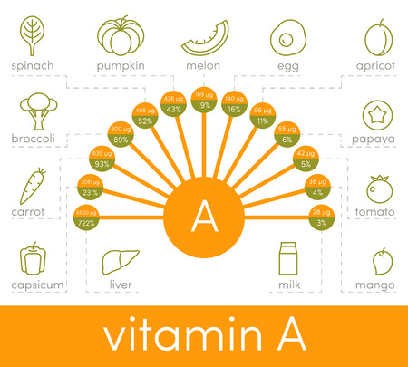 retinal: Source of vitamin A, vector elements for infographic