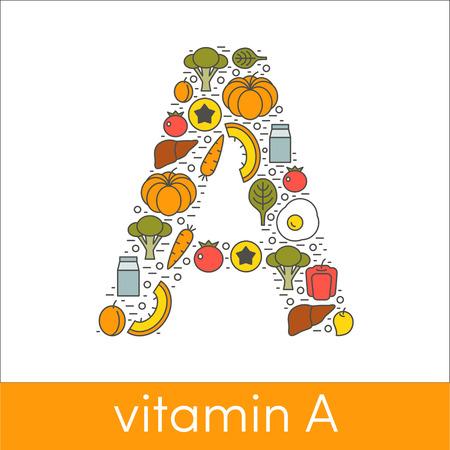 carotene: Letter A symbolizing vitamin A concept
