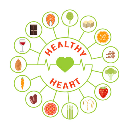 Vector foods that are good for the heart Illustration