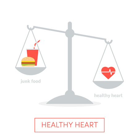 weighing scales: Vector concept of healthy heart based on weighing scales